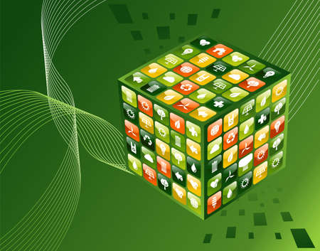 Eco friendly mobile app cube with icon set background  Vector file available  Vector