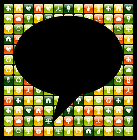 Social media bubble over mobile phone green app icons. Vector file available. Vector