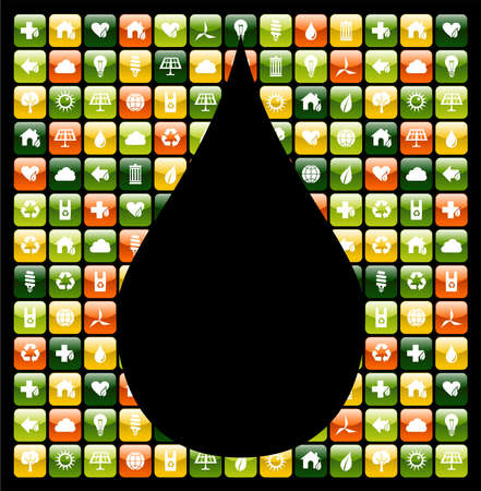 handy: Water drop shape over eco friendly icon app buttons. Vector file available.