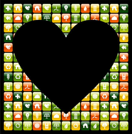 Heart shape over mobile app icons background. Vector file available. Stock Vector - 13237854