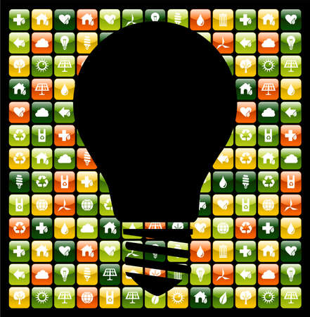 application recycle: Light bulb symbol over global mobile phone green apps icon background. Vector file available.
