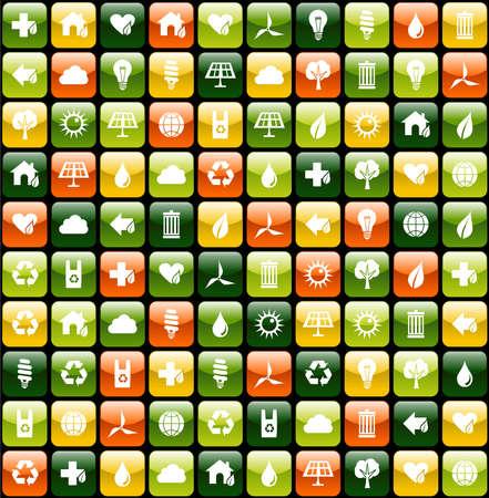 Botones verdes de iconos para aplicaciones de fondo sin fisuras patrón de eco amigable. Vector archivo disponible.