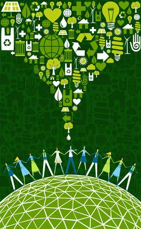 sustainable resources: Green environment icons set splash over happy eco people globe.  Vector file available.