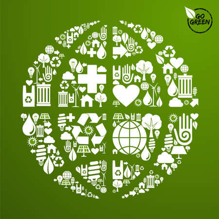 energy conservation: Globe shape in green icons set background. Vector file available.