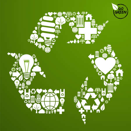 go green icons: Go green icons set in recycle symbol shape background. Vector file available. Illustration