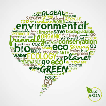 go go: Go Green.  Social media speech with words cloud about environmental conservation. Vector file available.