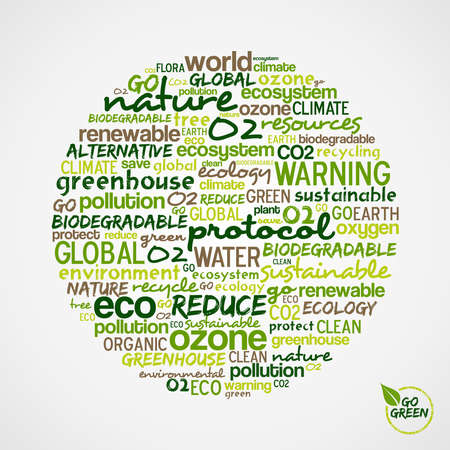 Go Green. Words cloud about environmental conservation in circle shape. Vector file available. Vector