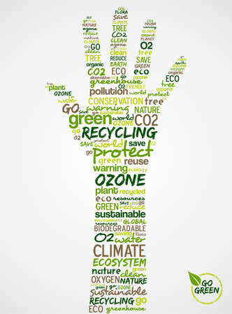 Go Green. Words cloud about environmental conservation in hand. Vector file available. Vector
