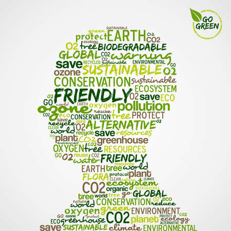 go green: Go Green. Man head with words cloud about environmental conservation. Vector file available.