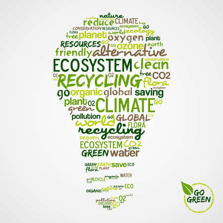 go to: Go Green. Light bulb with words cloud about environmental conservation. Vector file available.