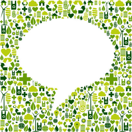 Green icons set in social media speech bubble background. Vector file available. Vector Illustration