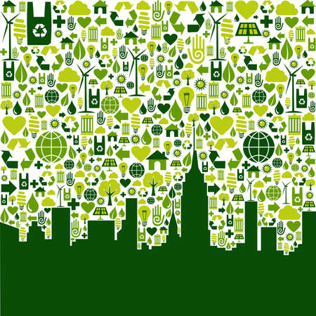 eco house: Green icon collection in city silhouette background. Vector file available.