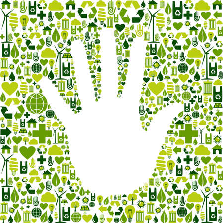 recycling plant: Eco environment icons set background in human hand shape  Vector file available