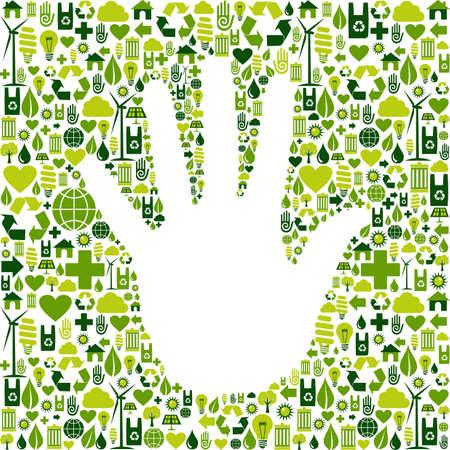 Eco-omgeving pictogrammen instellen achtergrond in de menselijke vorm van de hand Vector-bestand beschikbaar