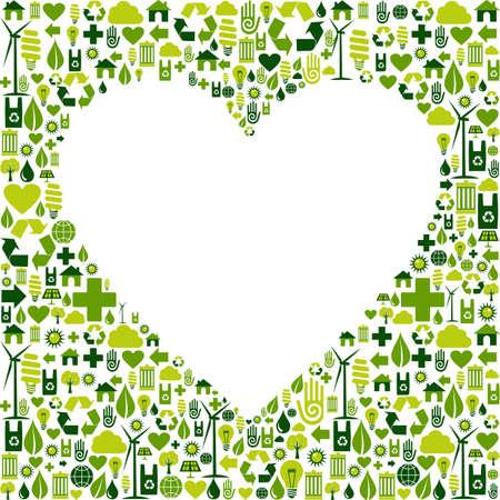 amor al planeta: Coraz�n silueta hecha con el archivo vectorial eco amigable icono de la colecci�n est� disponible Vectores