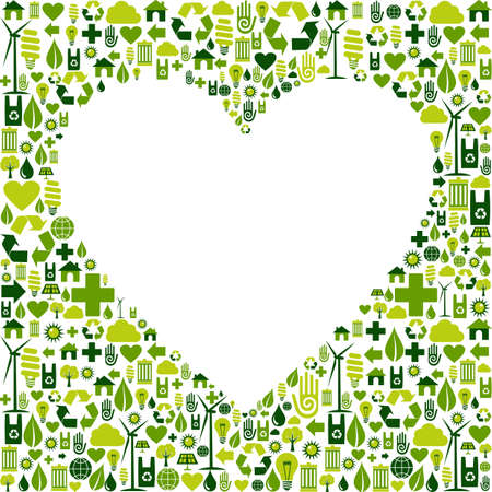 Heart silhouette made with eco friendly icon collection  Vector file available  Vector