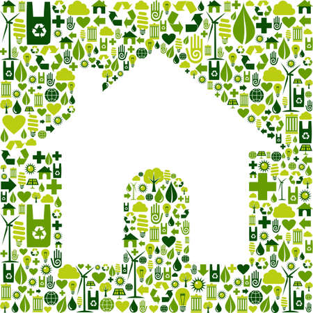 positive energy: Green icons set background in home shape  Vector file available