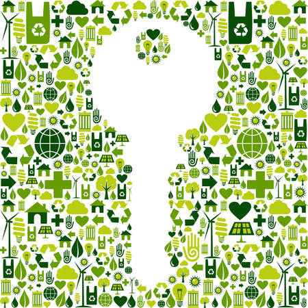 Key to green environment silhouette made with eco friendly icons collection  Vector file available  Stock Vector - 13237936
