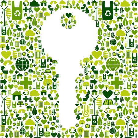 llave de sol: La clave para el medio ambiente verde silueta hecha con el archivo de iconos vectoriales eco amigable colección disponible