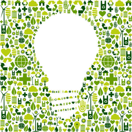 Ideas about eco friendly actions  Green icons in light bulb symbol shape background  Vector file available Stock Vector - 13237935
