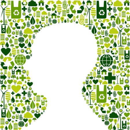 Human head silhouette made with green icons set background  Vector file available  Stock Vector - 13237925