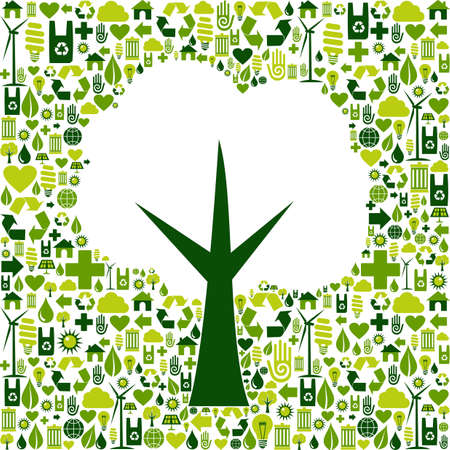 Tree silhouette made with green icons collection  Vector file available Stock Vector - 13237931
