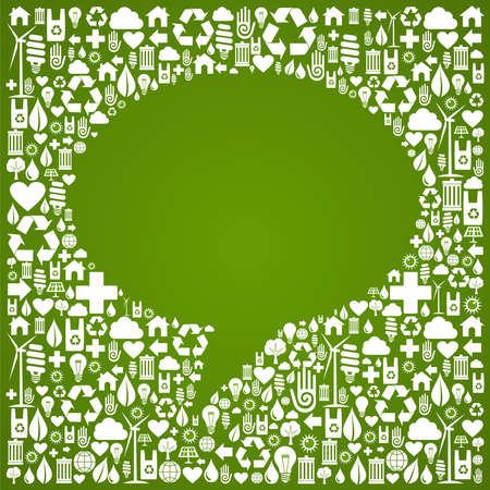 Social media talk bubble over green icon background  Vector file available  Vector