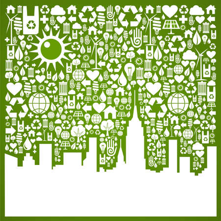 recycling plant: Green icons set in city silhouette background  Vector file available