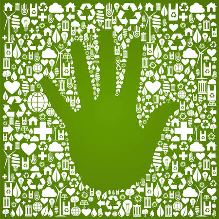 positive energy: Hand shape in green Earth icons set background  Vector file available  Illustration