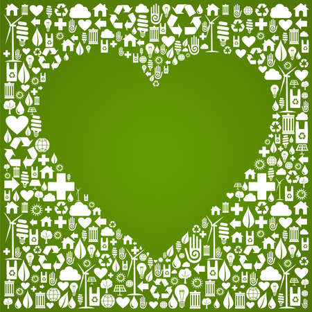 Heart shape in green icons set background  Vector file available  Vector