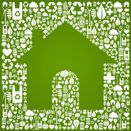 eco icon: Green house symbol over environment icons background  Vector file available  Illustration