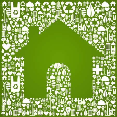 �cologie: Symbole de la maison verte sur l'environnement de fichier ic�nes Vecteur de base disponibles