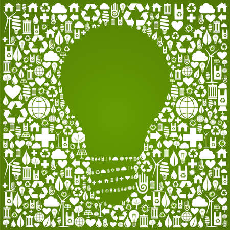 Light bulb symbol over green icons set background  Vector file available  Vector