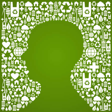 Green icons set background in man head symbol  Vector file available  Vector