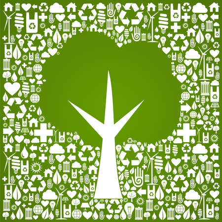 Green tree symbol over eco icons background  Vector file available  Vector
