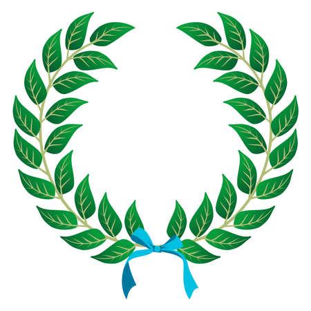 laurel leaf: Corona de laurel con una cinta de cielo azul sobre fondo blanco. Archivo vectorial en capas para la manipulaci�n f�cil y personalizaci�n. Vectores