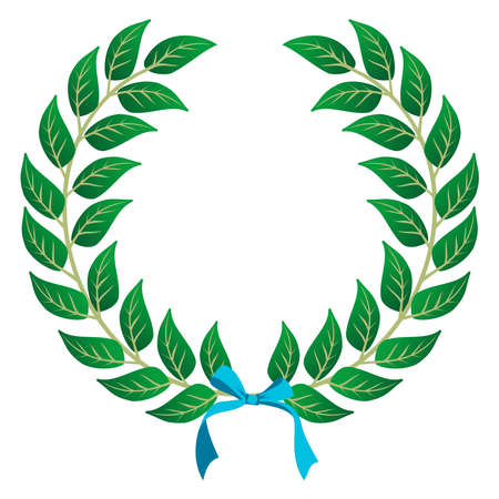 medallion: Laurel wreath with a sky blue ribbon over white background. Vector file layered for easy manipulation and customisation.