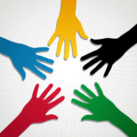 Hand silhouettes in Olympic Games colors over white background. Vector file layered for easy manipulation and customisation. Vector