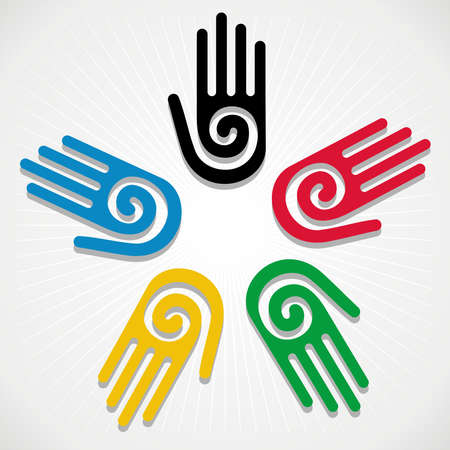 Olympic Games colorfull hands in circle over white background. Vector file layered for easy manipulation and customisation. Vector