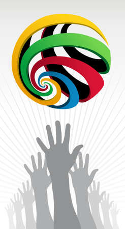 customisation: Hands silhouettes trying to reach a colorfull sports competition globe over white background. Vector file layered for easy manipulation and customisation.