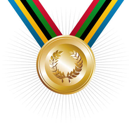 customisation: sports competitions Games gold medal with ribbons in the colors which represents the five continents on white background. Vector file layered for easy manipulation and customisation. Illustration