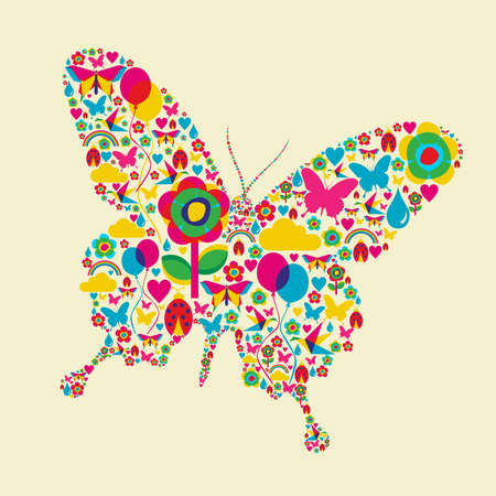 Happy spring time butterfly composition Vector