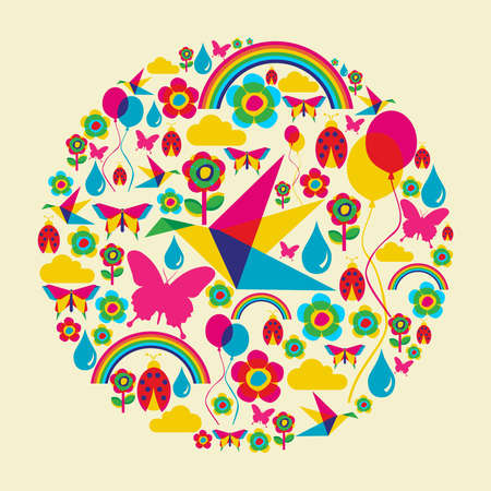 Happy spring time circle composition Vector