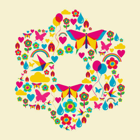 Happy spring time flower composition. Vector