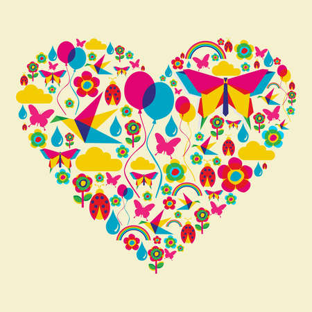Happy spring time heart composition Vector