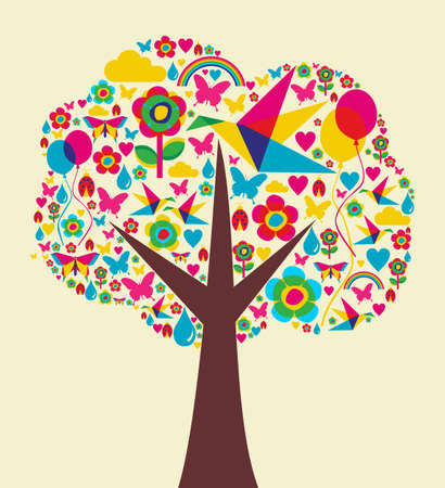 Happy spring time tree composition background. Vector