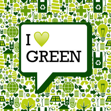 Ik hou van groene tekst in de communicatie bel over de iconen textuur achtergrond afbeelding.