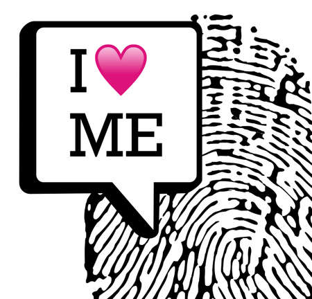I love me written in dialog bubble with fingerprint on white background. fille layered for easy manipulation and custom coloring. Vector