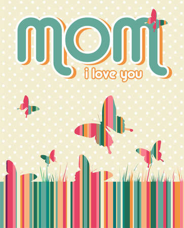 I love you mummy written on beige background with white dots and butterflies. file layered for easy manipulation and custom coloring. Vector