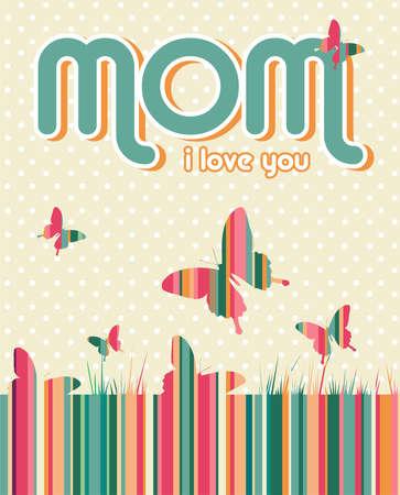te quiero: Te amo mamá por escrito sobre fondo beige con puntos blancos y mariposas. archivo de capas para la manipulación fácil y colorante de encargo.